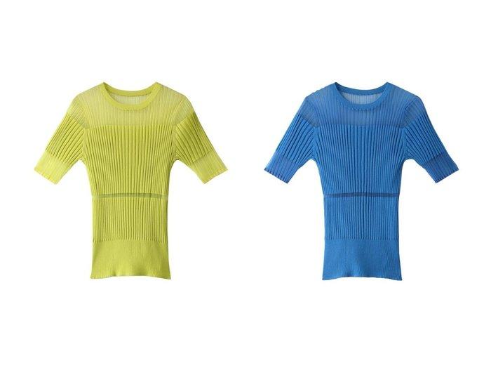 【LE CIEL BLEU/ルシェル ブルー】のトランスペアレントハーフスリーブニットトップス 【トップス・カットソー】おすすめ!人気、トレンド・レディースファッションの通販 おすすめ人気トレンドファッション通販アイテム 人気、トレンドファッション・服の通販 founy(ファニー)  ファッション Fashion レディースファッション WOMEN トップス・カットソー Tops/Tshirt ニット Knit Tops 2021年 2021 2021-2022秋冬・A/W AW・Autumn/Winter・FW・Fall-Winter・2021-2022 A/W・秋冬 AW・Autumn/Winter・FW・Fall-Winter おすすめ Recommend コンビ シアー セットアップ フィット リブニット 半袖 |ID:crp329100000053574
