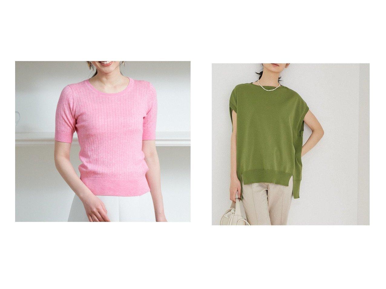 【ANAYI/アナイ】のコットンカシミヤワイドリブプルオーバー&【ROPE'/ロペ】の【洗える】ハイゲージホールガーメントフレンチスリーブニット 【トップス・カットソー】おすすめ!人気、トレンド・レディースファッションの通販   おすすめで人気の流行・トレンド、ファッションの通販商品 インテリア・家具・メンズファッション・キッズファッション・レディースファッション・服の通販 founy(ファニー) https://founy.com/ ファッション Fashion レディースファッション WOMEN トップス・カットソー Tops/Tshirt ニット Knit Tops プルオーバー Pullover 洗える ストレッチ スリット スリム セーター ノースリーブ ホールガーメント ポケット モノトーン ワイド 再入荷 Restock/Back in Stock/Re Arrival おすすめ Recommend 夏 Summer |ID:crp329100000053740