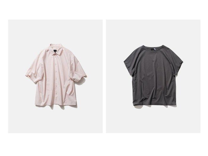 【ATON/エイトン】の2 キャップスリーブTシャツ&GIZA STRIPE オーバーサイズシャツ - UNISEX 【トップス・カットソー】おすすめ!人気、トレンド・レディースファッションの通販 おすすめ人気トレンドファッション通販アイテム インテリア・キッズ・メンズ・レディースファッション・服の通販 founy(ファニー) https://founy.com/ ファッション Fashion レディースファッション WOMEN トップス・カットソー Tops/Tshirt シャツ/ブラウス Shirts/Blouses ロング / Tシャツ T-Shirts カットソー Cut and Sewn 送料無料 Free Shipping UNISEX インド シンプル ブロード 再入荷 Restock/Back in Stock/Re Arrival 半袖 定番 Standard カットソー キャップ ジャージー スリーブ  ID:crp329100000053952