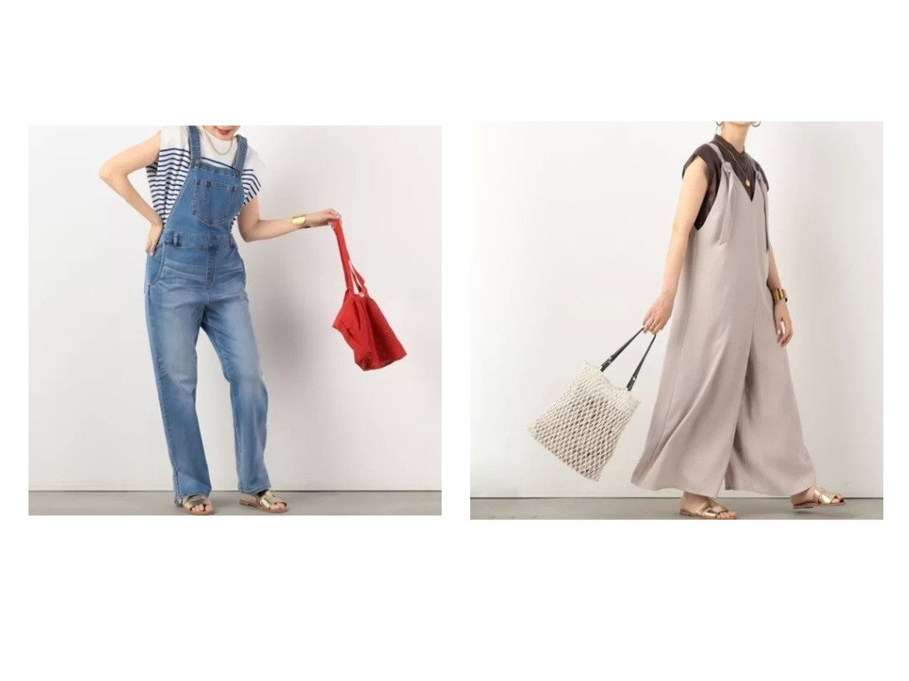 【NOLLEY'S/ノーリーズ】のデニムサロペット&【WEB限定】ダブルバックサテンサロペット 【ワンピース・ドレス】おすすめ!人気、トレンド・レディースファッションの通販 おすすめで人気の流行・トレンド、ファッションの通販商品 インテリア・家具・メンズファッション・キッズファッション・レディースファッション・服の通販 founy(ファニー) https://founy.com/ ファッション Fashion レディースファッション WOMEN ワンピース Dress オールインワン ワンピース All In One Dress サロペット Salopette バッグ Bag カットソー スリット ベーシック リラックス ワイド  ID:crp329100000054617