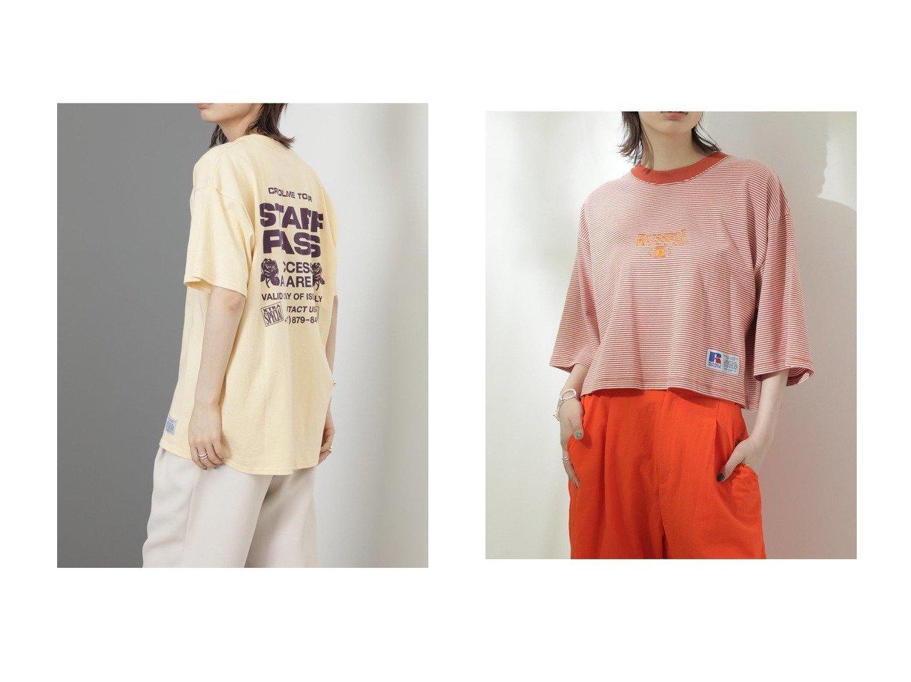【ROSE BUD/ローズバッド】の〈RUSSELL ATHLETIC×CREOLME〉スタッフパスTシャツ&〈RUSSELL ATHLETIC×CREOLME〉クロップドボーダーTシャツ 【トップス・カットソー】おすすめ!人気、トレンド・レディースファッションの通販 おすすめで人気の流行・トレンド、ファッションの通販商品 インテリア・家具・メンズファッション・キッズファッション・レディースファッション・服の通販 founy(ファニー) https://founy.com/ ファッション Fashion レディースファッション WOMEN トップス・カットソー Tops/Tshirt シャツ/ブラウス Shirts/Blouses ロング / Tシャツ T-Shirts 2021年 2021 2021-2022秋冬・A/W AW・Autumn/Winter・FW・Fall-Winter・2021-2022 A/W・秋冬 AW・Autumn/Winter・FW・Fall-Winter グラフィック プリント ラッセル 別注  ID:crp329100000054632