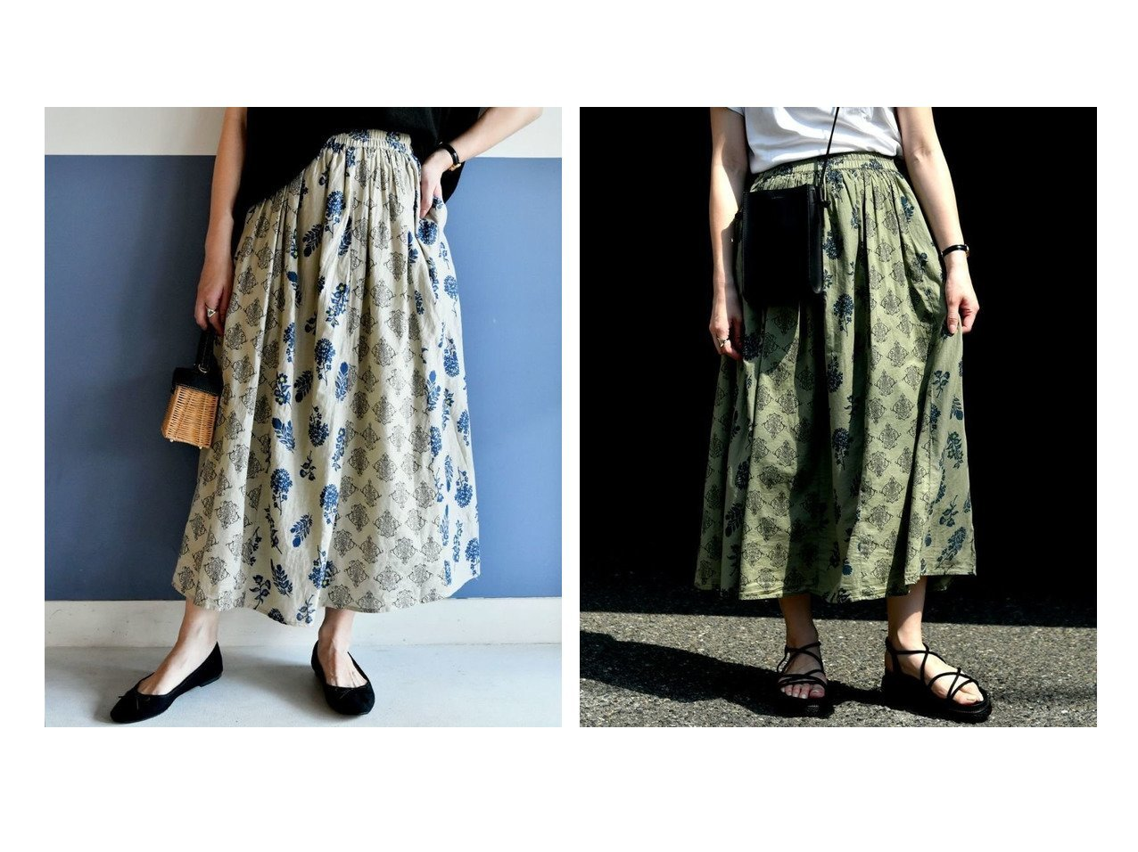 【Bou Jeloud/ブージュルード】のLupilien ボイルプリントパネル切替スカート おすすめ!人気、トレンド・レディースファッションの通販  おすすめで人気の流行・トレンド、ファッションの通販商品 インテリア・家具・メンズファッション・キッズファッション・レディースファッション・服の通販 founy(ファニー) https://founy.com/ ファッション Fashion レディースファッション WOMEN スカート Skirt ギャザー シンプル フラワー プチプライス・低価格 Affordable プリント ポケット 切替 夏 Summer |ID:crp329100000054987