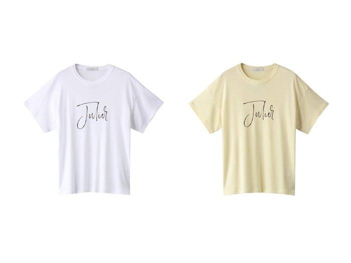 【Julier/ジュリエ】のJulierプリントTシャツ 【トップス・カットソー】おすすめ!人気、トレンド・レディースファッションの通販 おすすめ人気トレンドファッション通販アイテム インテリア・キッズ・メンズ・レディースファッション・服の通販 founy(ファニー) https://founy.com/ ファッション Fashion レディースファッション WOMEN トップス・カットソー Tops/Tshirt シャツ/ブラウス Shirts/Blouses ロング / Tシャツ T-Shirts 2021年 2021 2021-2022秋冬・A/W AW・Autumn/Winter・FW・Fall-Winter・2021-2022 A/W・秋冬 AW・Autumn/Winter・FW・Fall-Winter インナー シンプル フロント プリント ベーシック ロング |ID:crp329100000055272