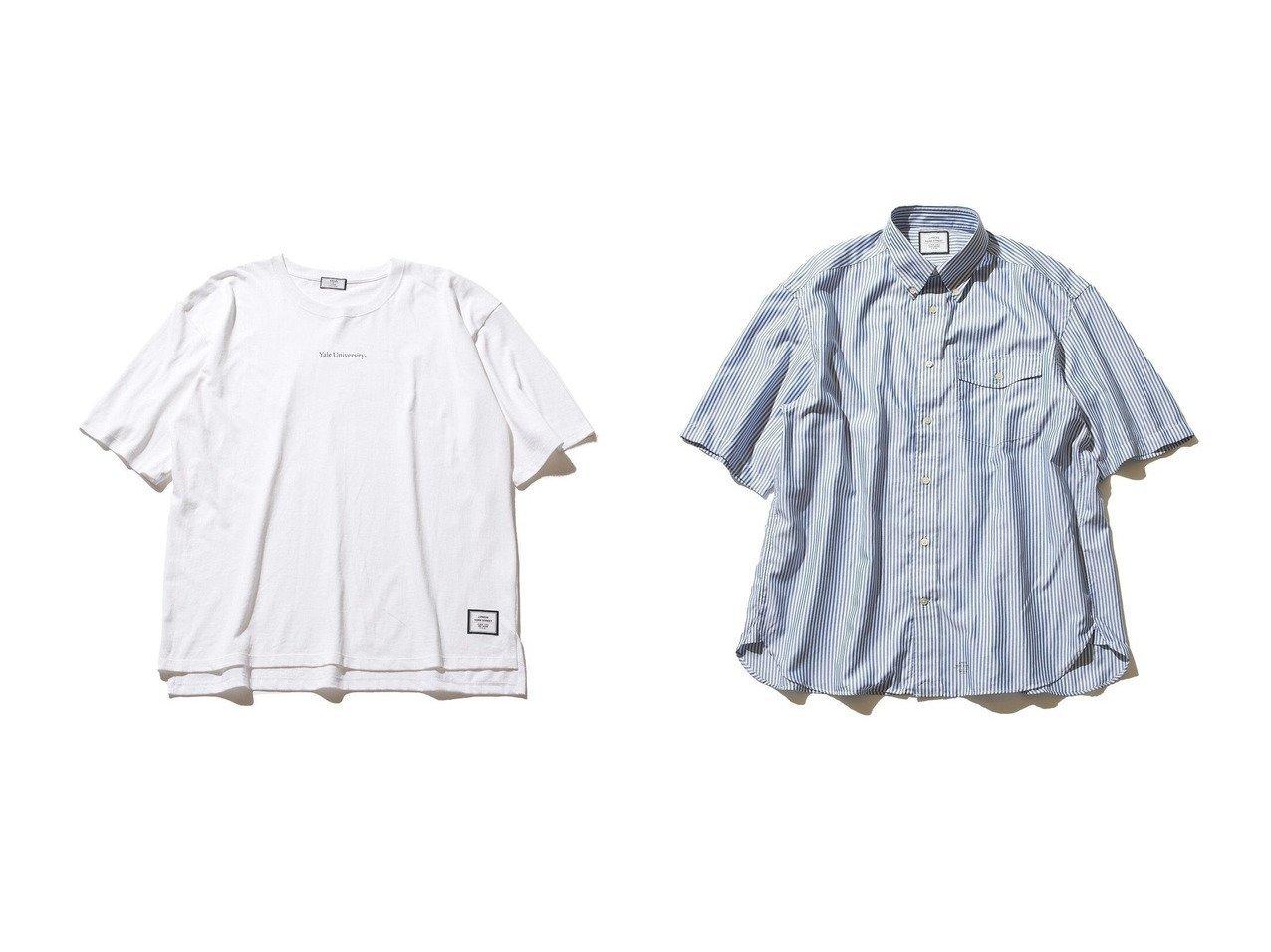 【J.PRESS YORK STREET/ジェイプレスヨークストリート】の【UNISEX】ハイカウントストライプ ツイルシャツ&【UNISEX】天竺 YALE UNIVERSITTY Tシャツ 【トップス・カットソー】おすすめ!人気、トレンド・レディースファッションの通販 おすすめで人気の流行・トレンド、ファッションの通販商品 インテリア・家具・メンズファッション・キッズファッション・レディースファッション・服の通販 founy(ファニー) https://founy.com/ ファッション Fashion レディースファッション WOMEN トップス・カットソー Tops/Tshirt シャツ/ブラウス Shirts/Blouses ロング / Tシャツ T-Shirts カットソー Cut and Sewn 送料無料 Free Shipping UNISEX ショルダー ドロップ ワイド 半袖 長袖 カットソー |ID:crp329100000055309