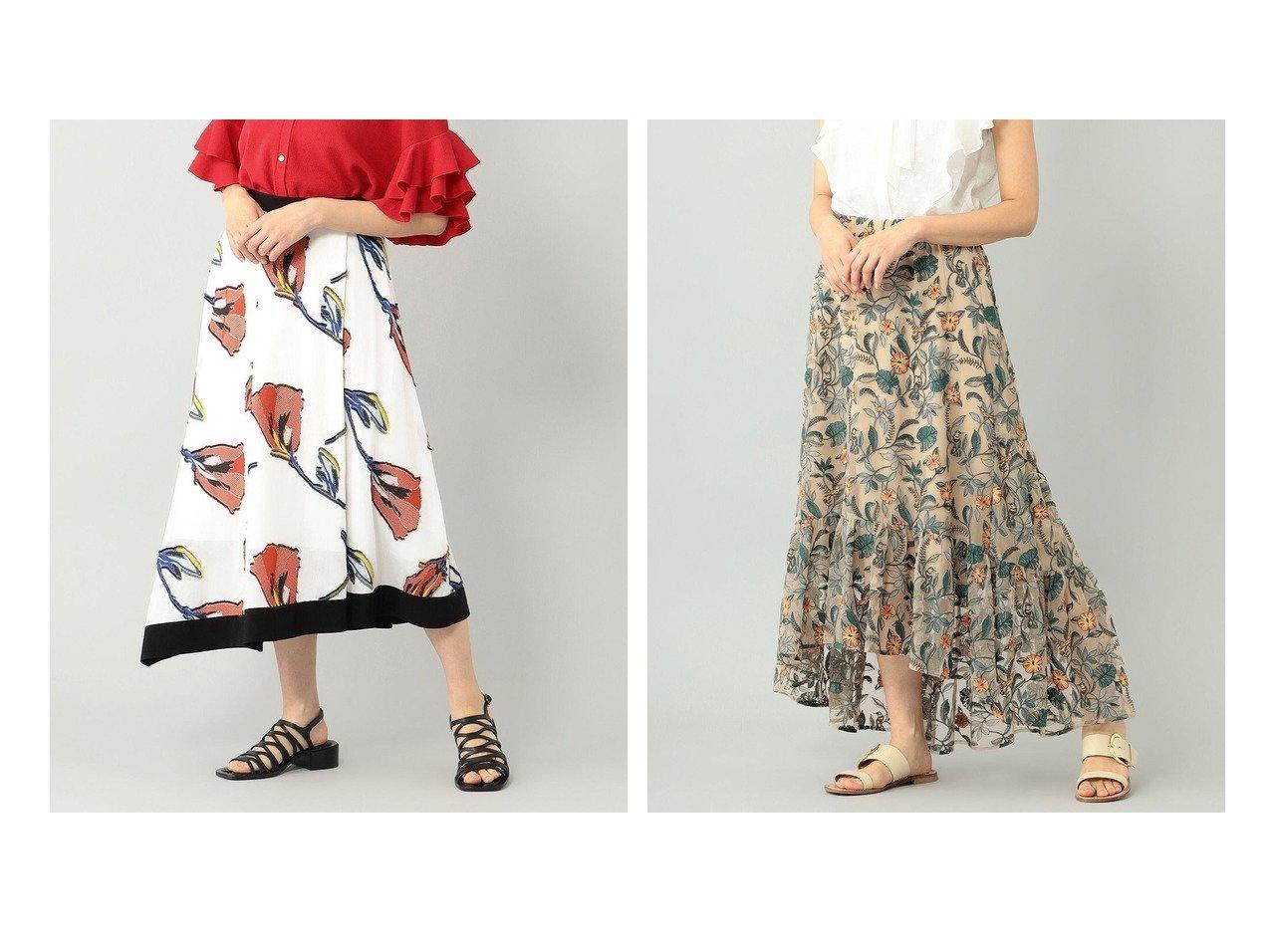 【GRACE CONTINENTAL/グレース コンチネンタル】のフラワーJQスカート&ボタニカルチュール刺繍スカート 【スカート】おすすめ!人気、トレンド・レディースファッションの通販   おすすめで人気の流行・トレンド、ファッションの通販商品 インテリア・家具・メンズファッション・キッズファッション・レディースファッション・服の通販 founy(ファニー) https://founy.com/ ファッション Fashion レディースファッション WOMEN スカート Skirt 送料無料 Free Shipping ティアード ボタニカル 再入荷 Restock/Back in Stock/Re Arrival 夏 Summer イレギュラーヘム フラワー |ID:crp329100000057116