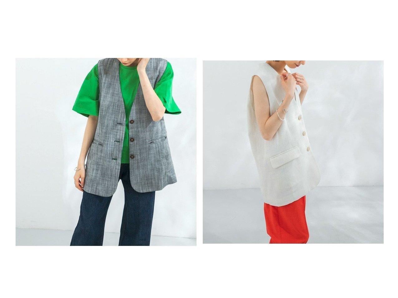 【KBF / URBAN RESEARCH/ケービーエフ】のヘリンボンBIGベスト 【アウター】おすすめ!人気、トレンド・レディースファッションの通販   おすすめで人気の流行・トレンド、ファッションの通販商品 インテリア・家具・メンズファッション・キッズファッション・レディースファッション・服の通販 founy(ファニー) https://founy.com/ ファッション Fashion レディースファッション WOMEN アウター Coat Outerwear コート Coats ジャケット Jackets おすすめ Recommend アメリカン インナー シンプル ジャケット スリーブ タンク ヘリンボン ベスト 夏 Summer  ID:crp329100000057173