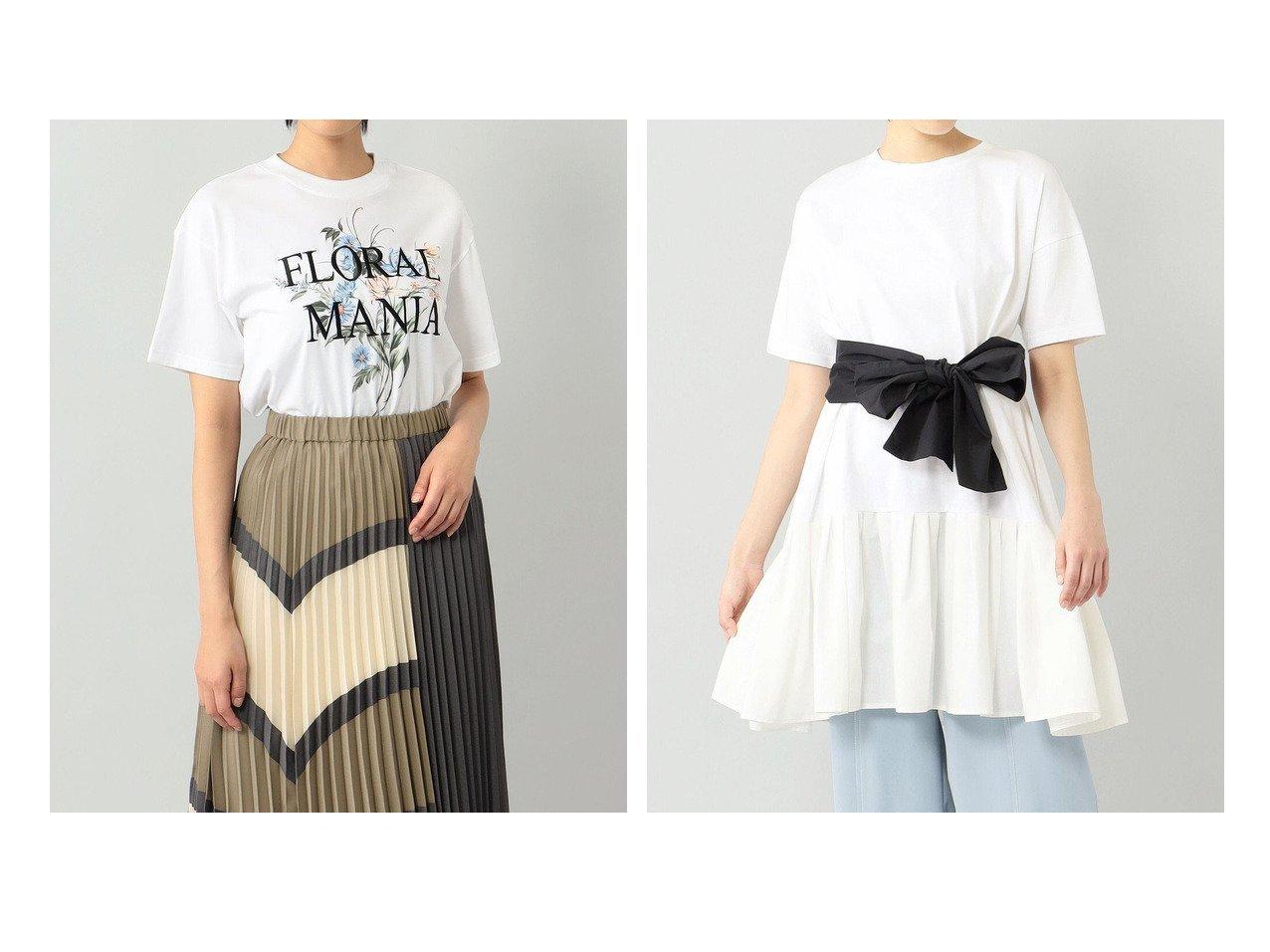 【GRACE CONTINENTAL/グレース コンチネンタル】のフラワープリントTシャツ&タフタリボンチュニック 【トップス・カットソー】おすすめ!人気、トレンド・レディースファッションの通販 おすすめで人気の流行・トレンド、ファッションの通販商品 インテリア・家具・メンズファッション・キッズファッション・レディースファッション・服の通販 founy(ファニー) https://founy.com/ ファッション Fashion レディースファッション WOMEN トップス・カットソー Tops/Tshirt シャツ/ブラウス Shirts/Blouses ロング / Tシャツ T-Shirts カットソー Cut and Sewn 花柄・フラワープリント・モチーフ Flower Patterns 送料無料 Free Shipping カットソー ジャージ フラワー プリント 夏 Summer 定番 Standard ギャザー ジャージー タフタ ビッグ リボン ロマンティック ワイド  ID:crp329100000058380