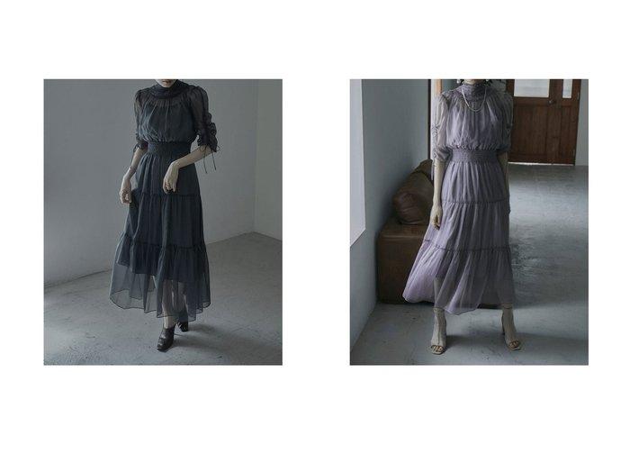 【etoll/エトル】のハイネックティアードワンピースドレス おすすめ!人気、トレンド・レディースファッションの通販   おすすめ人気トレンドファッション通販アイテム 人気、トレンドファッション・服の通販 founy(ファニー)  ファッション Fashion レディースファッション WOMEN ワンピース Dress ドレス Party Dresses オケージョン シャーリング ドレス リラックス  ID:crp329100000059018