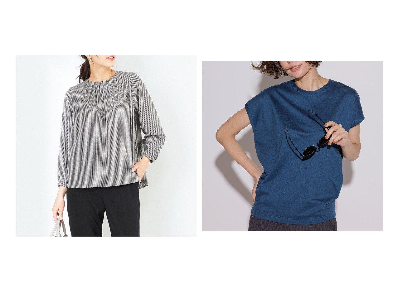 【any SiS/エニィ スィス】の【洗える】タックネック ブラウス&【NIJYUSANKU/23区】のコットンジャージー フレンチスリーブ Tシャツ 【トップス・カットソー】おすすめ!人気、トレンド・レディースファッションの通販 おすすめで人気の流行・トレンド、ファッションの通販商品 インテリア・家具・メンズファッション・キッズファッション・レディースファッション・服の通販 founy(ファニー) https://founy.com/ ファッション Fashion レディースファッション WOMEN トップス・カットソー Tops/Tshirt シャツ/ブラウス Shirts/Blouses ロング / Tシャツ T-Shirts カットソー Cut and Sewn 送料無料 Free Shipping クラシカル チェック 夏 Summer 洗える 秋 Autumn/Fall インナー カットソー ジャケット ジャージー スリーブ 人気 フレンチ ボトム ポケット リラックス 冬 Winter A/W・秋冬 AW・Autumn/Winter・FW・Fall-Winter 2021年 2021 2021-2022秋冬・A/W AW・Autumn/Winter・FW・Fall-Winter・2021-2022  ID:crp329100000060634