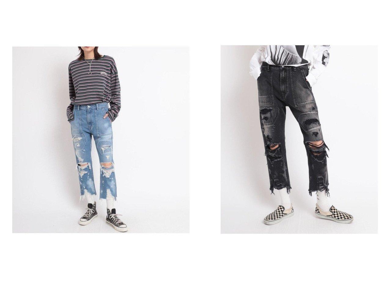 【RNA/アールエヌエー】のR3862 ハードダメージベイカーパンツ おすすめ!人気、トレンド・レディースファッションの通販 おすすめで人気の流行・トレンド、ファッションの通販商品 インテリア・家具・メンズファッション・キッズファッション・レディースファッション・服の通販 founy(ファニー) https://founy.com/ ファッション Fashion レディースファッション WOMEN パンツ Pants おすすめ Recommend ジーンズ ストレート ダメージ デニム メンズ  ID:crp329100000061075
