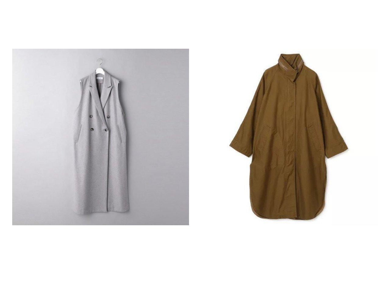【FLORENT/フローレント】のMILITARY STAND COLLAR COAT&【UNITED ARROWS/ユナイテッドアローズ】のMLT ロングジレ 【アウター】おすすめ!人気、トレンド・レディースファッションの通販 おすすめで人気の流行・トレンド、ファッションの通販商品 インテリア・家具・メンズファッション・キッズファッション・レディースファッション・服の通販 founy(ファニー) https://founy.com/ ファッション Fashion レディースファッション WOMEN アウター Coat Outerwear コート Coats カッティング スタンド ミリタリー ロング 洗える スリット バランス マニッシュ メルトン |ID:crp329100000062074