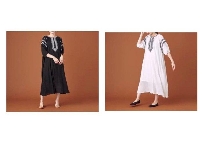 【THE STATION STORE / UNITED ARROWS/ザ ステーション ストア】のシシュウ ギャザー ロングワンピース -ウォッシャブル- 【ワンピース・ドレス】おすすめ!人気、トレンド・レディースファッションの通販 おすすめ人気トレンドファッション通販アイテム 人気、トレンドファッション・服の通販 founy(ファニー) ファッション Fashion レディースファッション WOMEN ワンピース Dress インナー ウォッシャブル エアリー エスニック ギャザー シンプル スリーブ 長袖 フロント モノトーン レギンス ロング |ID:crp329100000062076