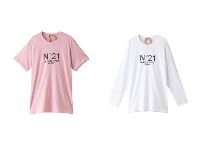 【N°21/ヌメロヴェントゥーノ】のロゴロングTシャツ&ロゴTシャツ 【トップス・カットソー】おすすめ!人気、トレンド・レディースファッションの通販 おすすめ人気トレンドファッション通販アイテム 人気、トレンドファッション・服の通販 founy(ファニー) ファッション Fashion レディースファッション WOMEN トップス・カットソー Tops/Tshirt シャツ/ブラウス Shirts/Blouses ロング / Tシャツ T-Shirts カットソー Cut and Sewn 2020年 2020 2020-2021秋冬・A/W AW・Autumn/Winter・FW・Fall-Winter/2020-2021 2021年 2021 2021-2022秋冬・A/W AW・Autumn/Winter・FW・Fall-Winter・2021-2022 A/W・秋冬 AW・Autumn/Winter・FW・Fall-Winter シンプル スリーブ トレンド フロント ロング ショート スウェット デニム リラックス |ID:crp329100000062090