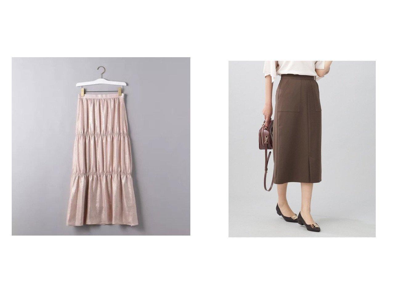 【nano universe/ナノ ユニバース】のWEB限定/スリットタイトスカート&【UNITED ARROWS/ユナイテッドアローズ】のラメ ティアードスカート 【スカート】おすすめ!人気、トレンド・レディースファッションの通販  おすすめで人気の流行・トレンド、ファッションの通販商品 インテリア・家具・メンズファッション・キッズファッション・レディースファッション・服の通販 founy(ファニー) https://founy.com/ ファッション Fashion レディースファッション WOMEN スカート Skirt ティアードスカート Tiered Skirts イタリア ギャザー ティアードスカート プリント マキシ メタリック ロング スリット フロント おすすめ Recommend  ID:crp329100000062289
