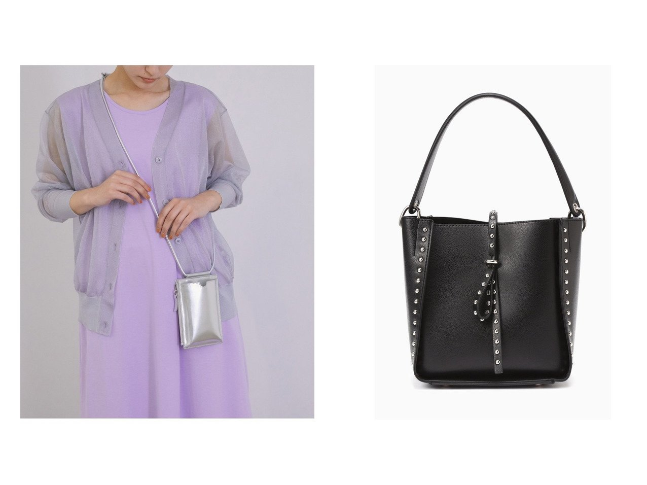 【ROSE BUD/ローズバッド】のスタッズショルダーバッグ&【ROPE' mademoiselle/ロペ マドモアゼル】の【スマートフォン対応】スマートウォレットミニショルダーバッグ 【バッグ・鞄】おすすめ!人気、トレンド・レディースファッションの通販  おすすめで人気の流行・トレンド、ファッションの通販商品 インテリア・家具・メンズファッション・キッズファッション・レディースファッション・服の通販 founy(ファニー) https://founy.com/ ファッション Fashion レディースファッション WOMEN バッグ Bag イエロー ウォレット ショルダー シルバー シンプル スマホ スマート スリット トレンド ポケット スタッズ ポーチ  ID:crp329100000062331