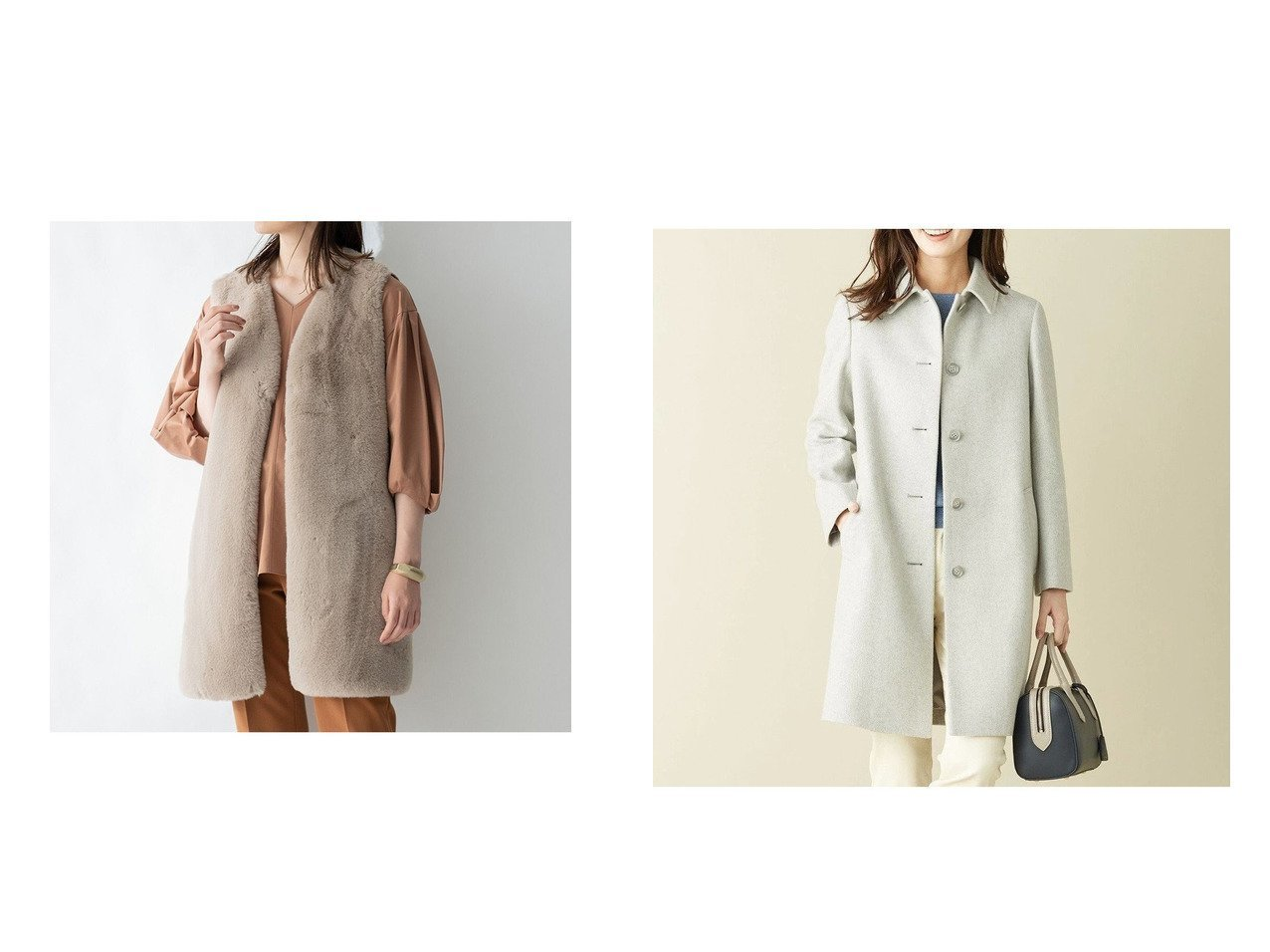 【J.PRESS/ジェイ プレス】のスーパー110Sショートビーバー ステンカラーコート&【JIYU-KU/自由区】のニットコンビ エコファー ジレ 【アウター】おすすめ!人気、トレンド・レディースファッションの通販  おすすめで人気の流行・トレンド、ファッションの通販商品 インテリア・家具・メンズファッション・キッズファッション・レディースファッション・服の通販 founy(ファニー) https://founy.com/ ファッション Fashion レディースファッション WOMEN アウター Coat Outerwear コート Coats ジャケット Jackets トップス・カットソー Tops/Tshirt ニット Knit Tops ベスト/ジレ Gilets/Vests 送料無料 Free Shipping エレガント クラシック ショート シンプル ジャケット 再入荷 Restock/Back in Stock/Re Arrival 冬 Winter 定番 Standard インナー 秋 Autumn/Fall コンビ タイプライター ドッキング ベスト リアル |ID:crp329100000062340