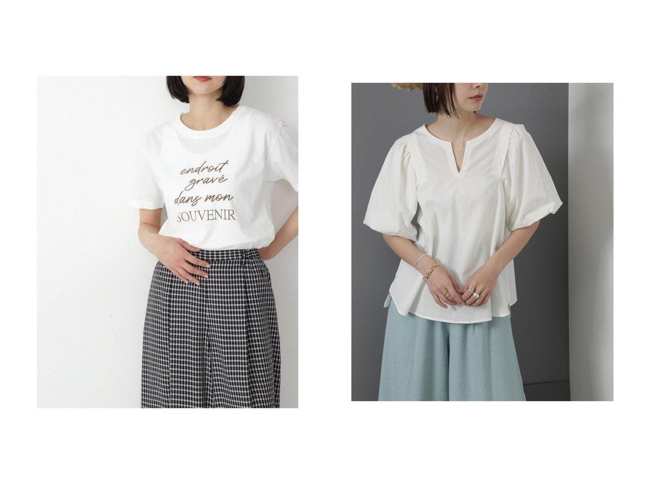 【HUMAN WOMAN/ヒューマンウーマン】のロゴプリントTシャツ&【ROSE BUD/ローズバッド】の袖ボリュームブラウス 【トップス・カットソー】おすすめ!人気、トレンド・レディースファッションの通販  おすすめで人気の流行・トレンド、ファッションの通販商品 インテリア・家具・メンズファッション・キッズファッション・レディースファッション・服の通販 founy(ファニー) https://founy.com/ ファッション Fashion レディースファッション WOMEN トップス・カットソー Tops/Tshirt シャツ/ブラウス Shirts/Blouses ロング / Tシャツ T-Shirts カットソー Cut and Sewn カットソー プリント ベーシック 夏 Summer スキッパー スリーブ トレンド ボトム 吸水 洗える |ID:crp329100000062401