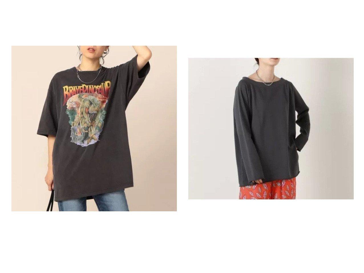 【Rie Miller/リエミラー】のミニ裏毛肩ぬきトレーナー&ピグメント染ダイナソープリントBIG Tシャツ おすすめ!人気、トレンド・レディースファッションの通販  おすすめで人気の流行・トレンド、ファッションの通販商品 インテリア・家具・メンズファッション・キッズファッション・レディースファッション・服の通販 founy(ファニー) https://founy.com/ ファッション Fashion レディースファッション WOMEN トップス・カットソー Tops/Tshirt シャツ/ブラウス Shirts/Blouses ロング / Tシャツ T-Shirts カットソー Cut and Sewn 2021年 2021 2021-2022秋冬・A/W AW・Autumn/Winter・FW・Fall-Winter・2021-2022 A/W・秋冬 AW・Autumn/Winter・FW・Fall-Winter おすすめ Recommend カットソー ビッグ プリント ヴィンテージ 半袖 トレーナー リラックス ロング 長袖  ID:crp329100000062837