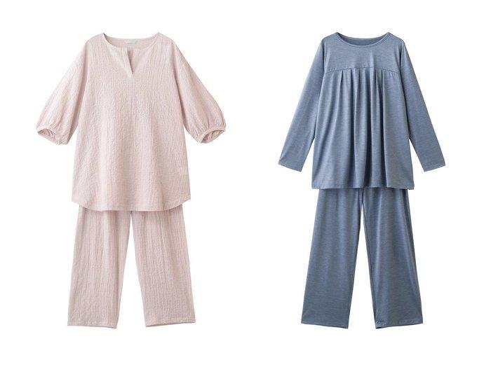 【KID BLUE/キッドブルー】のAWシャーリングコットンパジャマ&21AWトップシルク天竺パジャマ おすすめ!人気、トレンド・レディースファッションの通販  おすすめ人気トレンドファッション通販アイテム 人気、トレンドファッション・服の通販 founy(ファニー)  ファッション Fashion レディースファッション WOMEN トップス・カットソー Tops/Tshirt A/W・秋冬 AW・Autumn/Winter・FW・Fall-Winter スリット パジャマ フェミニン 2021年 2021 2021-2022秋冬・A/W AW・Autumn/Winter・FW・Fall-Winter・2021-2022 なめらか シルク シンプル ラベンダー 長袖 |ID:crp329100000063087