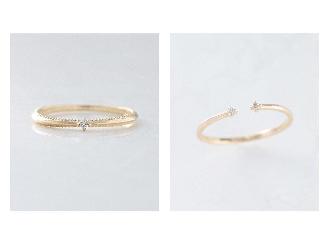 【NOIR DE POUPEE/ノワール ド プーペ】のK10 2粒ダイヤ オープンリング&K10 ミル×しのぎ 一粒ダイヤモンド ピンキーリング おすすめ!人気、トレンド・レディースファッションの通販 おすすめで人気の流行・トレンド、ファッションの通販商品 インテリア・家具・メンズファッション・キッズファッション・レディースファッション・服の通販 founy(ファニー) https://founy.com/ ファッション Fashion レディースファッション WOMEN おすすめ Recommend アクセサリー イエロー ストーン ダイヤモンド |ID:crp329100000063225