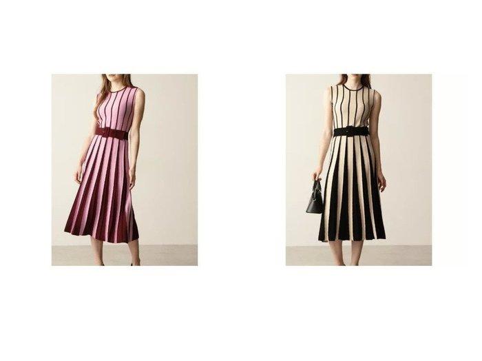 【Pinky&Dianne/ピンキーアンドダイアン】のバイカラープリーツ風ニットワンピース 【ワンピース・ドレス】おすすめ!人気、トレンド・レディースファッションの通販 おすすめ人気トレンドファッション通販アイテム 人気、トレンドファッション・服の通販 founy(ファニー) ファッション Fashion レディースファッション WOMEN ワンピース Dress ニットワンピース Knit Dresses ストレッチ フレア プリーツ |ID:crp329100000063577