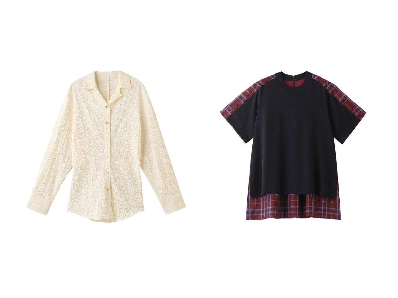 【LE CIEL BLEU/ルシェル ブルー】のクリンクルオープンカラーシャツ&バックシアーTee 【トップス・カットソー】おすすめ!人気、トレンド・レディースファッションの通販 おすすめで人気の流行・トレンド、ファッションの通販商品 インテリア・家具・メンズファッション・キッズファッション・レディースファッション・服の通販 founy(ファニー) https://founy.com/ ファッション Fashion レディースファッション WOMEN トップス・カットソー Tops/Tshirt シャツ/ブラウス Shirts/Blouses ロング / Tシャツ T-Shirts カットソー Cut and Sewn 2020年 2020 2020-2021秋冬・A/W AW・Autumn/Winter・FW・Fall-Winter/2020-2021 2021年 2021 2021-2022秋冬・A/W AW・Autumn/Winter・FW・Fall-Winter・2021-2022 A/W・秋冬 AW・Autumn/Winter・FW・Fall-Winter オーガンジー シアー ショート スリーブ チェック 半袖 シェイプ ロング 長袖 |ID:crp329100000063976