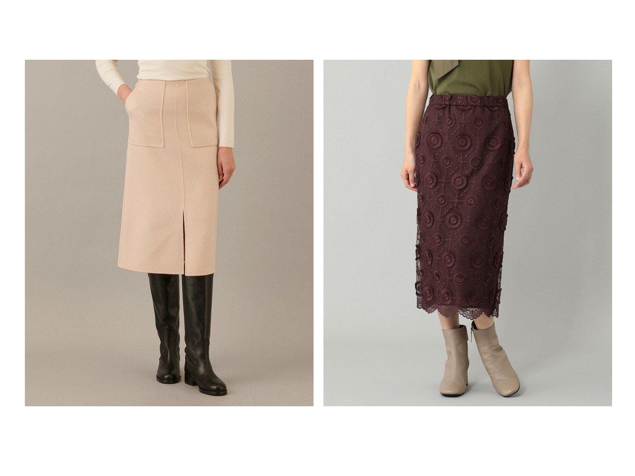 【JOSEPH/ジョゼフ】のライトリバー スカート&【GRACE CONTINENTAL/グレース コンチネンタル】のチュール刺繍タイトスカート 【スカート】おすすめ!人気、トレンド・レディースファッションの通販   おすすめで人気の流行・トレンド、ファッションの通販商品 インテリア・家具・メンズファッション・キッズファッション・レディースファッション・服の通販 founy(ファニー) https://founy.com/ ファッション Fashion レディースファッション WOMEN スカート Skirt 送料無料 Free Shipping A/W・秋冬 AW・Autumn/Winter・FW・Fall-Winter スリット センター ダブル パッチ フェイス ポケット ミドル 軽量 タイトスカート チュール  ID:crp329100000064827