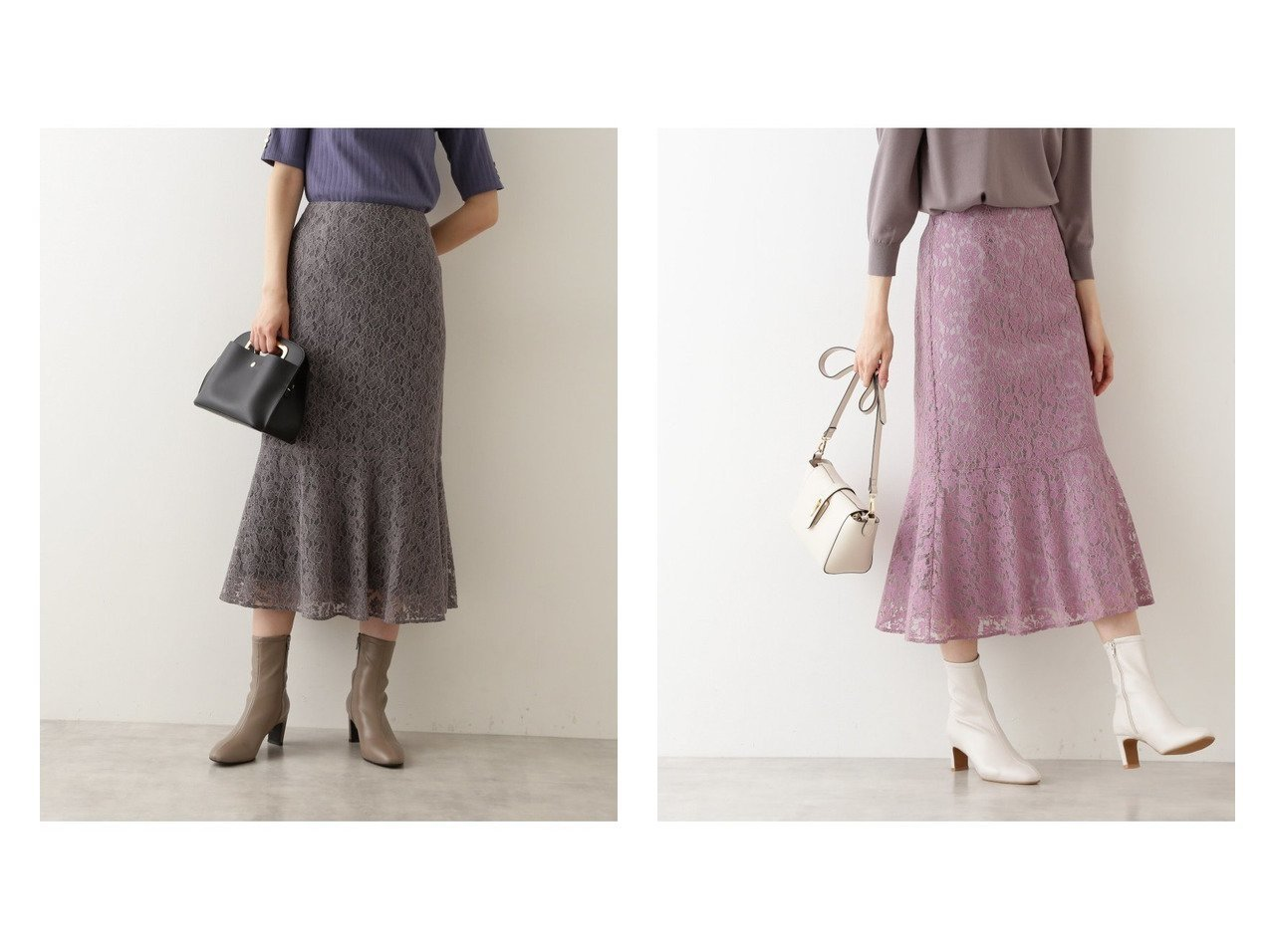 【NATURAL BEAUTY BASIC/ナチュラル ビューティー ベーシック】のバイカラーレーススカート 【スカート】おすすめ!人気、トレンド・レディースファッションの通販   おすすめで人気の流行・トレンド、ファッションの通販商品 インテリア・家具・メンズファッション・キッズファッション・レディースファッション・服の通販 founy(ファニー) https://founy.com/ ファッション Fashion レディースファッション WOMEN スカート Skirt シンプル フラワー フレア モチーフ レース  ID:crp329100000065923