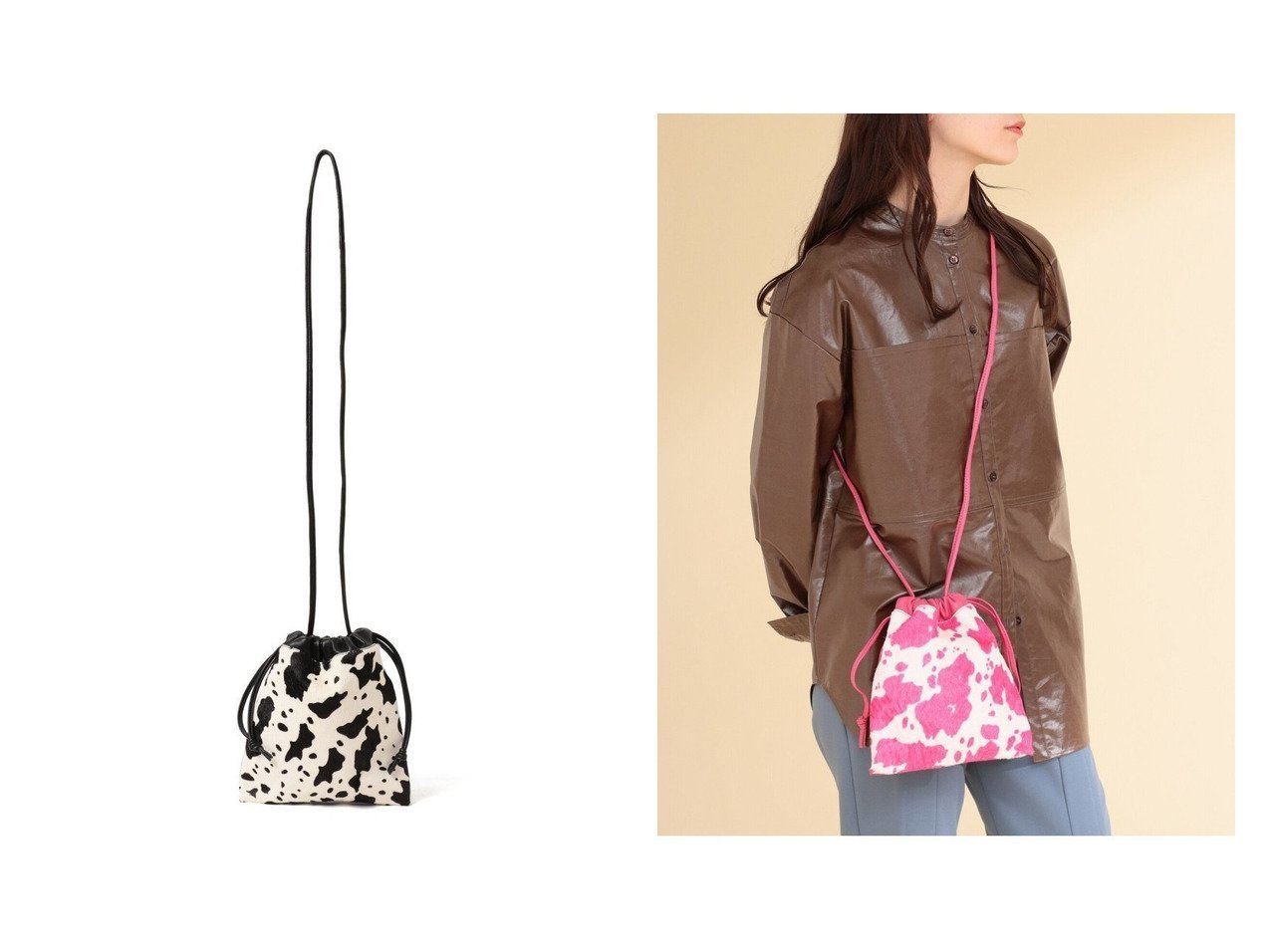 【Ray BEAMS/レイ ビームス】のCOW柄 巾着 バッグ 【バッグ・鞄】おすすめ!人気、トレンド・レディースファッションの通販 おすすめで人気の流行・トレンド、ファッションの通販商品 インテリア・家具・メンズファッション・キッズファッション・レディースファッション・服の通販 founy(ファニー) https://founy.com/ ファッション Fashion レディースファッション WOMEN バッグ Bag A/W・秋冬 AW・Autumn/Winter・FW・Fall-Winter トレンド ワンポイント 巾着 |ID:crp329100000067748