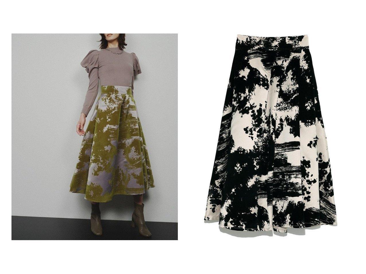 【FRAY I.D/フレイ アイディー】のシャンブレーフロッキースカート 【スカート】おすすめ!人気、トレンド・レディースファッションの通販 おすすめで人気の流行・トレンド、ファッションの通販商品 インテリア・家具・メンズファッション・キッズファッション・レディースファッション・服の通販 founy(ファニー) https://founy.com/ ファッション Fashion レディースファッション WOMEN スカート Skirt ロングスカート Long Skirt オケージョン コンシャス サテン シンプル テクスチャー バランス フレア プリント ロング  ID:crp329100000068579