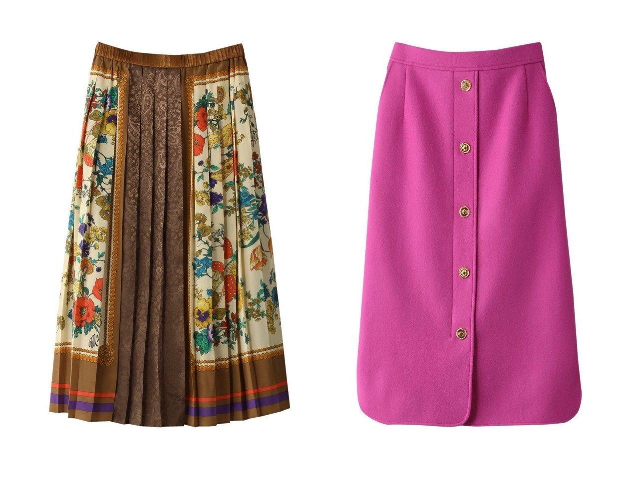 【MUVEIL/ミュベール】のスカーフプリントスカート&メタルボタンスカート 【スカート】おすすめ!人気、トレンド・レディースファッションの通販 おすすめで人気の流行・トレンド、ファッションの通販商品 インテリア・家具・メンズファッション・キッズファッション・レディースファッション・服の通販 founy(ファニー) https://founy.com/ ファッション Fashion レディースファッション WOMEN スカート Skirt スカーフ フラワー プリント プリーツ モチーフ フロント メタリック |ID:crp329100000069134