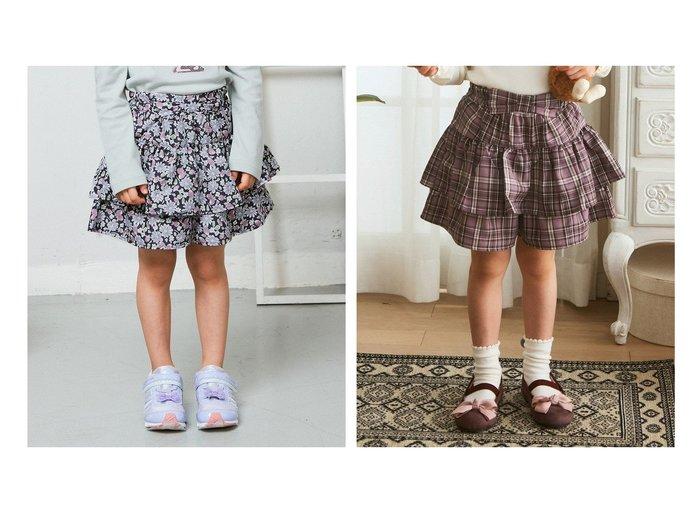 【any FAM / KIDS/エニファム】のティアードキュロット&ティアードキュロット 【KIDS】子供服のおすすめ!人気トレンド・キッズファッションの通販 おすすめ人気トレンドファッション通販アイテム 人気、トレンドファッション・服の通販 founy(ファニー)  ファッション Fashion キッズファッション KIDS ボトムス Bottoms/Kids 秋 Autumn/Fall キュロット チェック ポケット リボン 送料無料 Free Shipping |ID:crp329100000070522