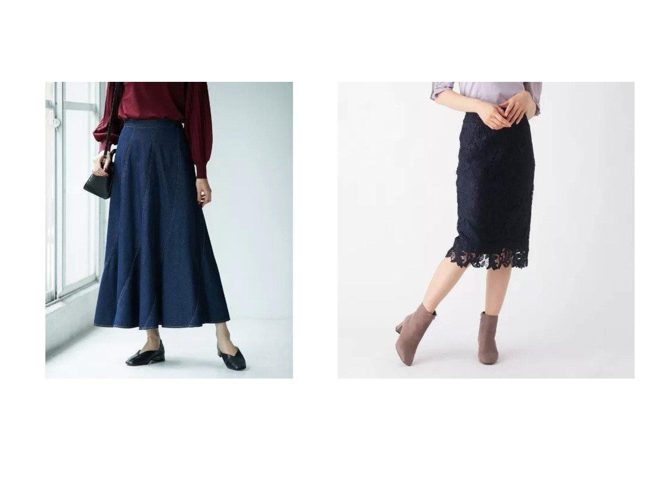 【INDEX/インデックス】のリーフレースタイトスカート&【ROPE' PICNIC/ロペピクニック】のエスカルゴデニムスカート 【スカート】おすすめ!人気、トレンド・レディースファッションの通販 おすすめで人気の流行・トレンド、ファッションの通販商品 インテリア・家具・メンズファッション・キッズファッション・レディースファッション・服の通販 founy(ファニー) https://founy.com/ ファッション Fashion レディースファッション WOMEN スカート Skirt デニムスカート Denim Skirts エレガント シンプル デニム フィット フレア マキシ リブニット ロング サテン スリット ベーシック ポケット リーフ レース ローズ 定番 Standard 秋 Autumn/Fall  ID:crp329100000070575