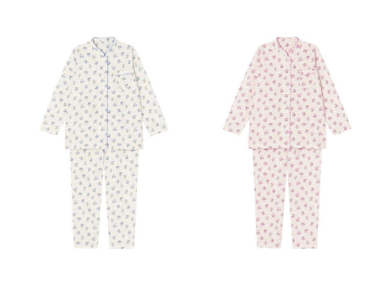【Wing/ウィング】の【パジャマ】更紗タッチの小花柄 ロング袖・ロングパンツ ウイング/ワコール EP6051 おすすめ!人気、トレンド・レディースファッションの通販 おすすめで人気の流行・トレンド、ファッションの通販商品 インテリア・家具・メンズファッション・キッズファッション・レディースファッション・服の通販 founy(ファニー) https://founy.com/ ファッション Fashion レディースファッション WOMEN パンツ Pants アンダー キルト シンプル スタンド パジャマ リーフ ロング 送料無料 Free Shipping |ID:crp329100000070643