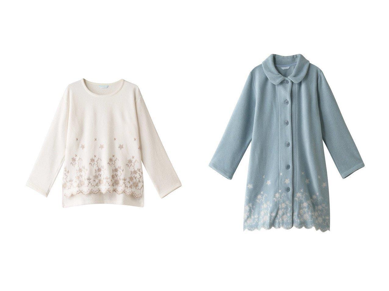 【KID BLUE/キッドブルー】の21フリースエンブトップ&21フリースエンブガウン 【ルームウェア・パジャマ】おすすめ!人気、トレンド・レディースファッションの通販 おすすめで人気の流行・トレンド、ファッションの通販商品 インテリア・家具・メンズファッション・キッズファッション・レディースファッション・服の通販 founy(ファニー) https://founy.com/ ファッション Fashion レディースファッション WOMEN トップス・カットソー Tops/Tshirt お家時間・ステイホーム Home Time/Stay Home ガウン スカラップ フラワー シンプル フォルム ボトム |ID:crp329100000071780