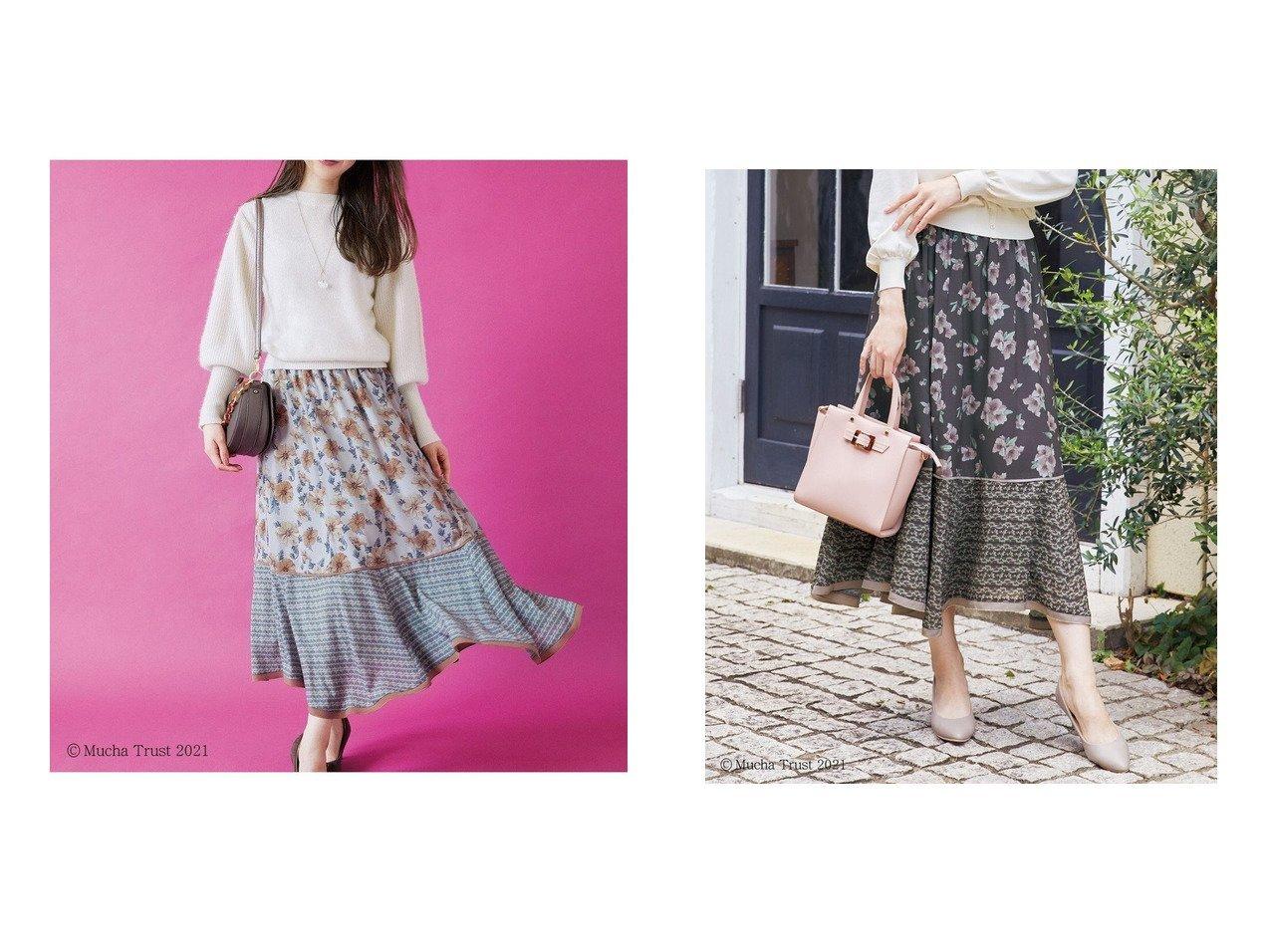 【Feroux/フェルゥ】の【Mucha】アートフラワープリントスカート 【スカート】おすすめ!人気、トレンド・レディースファッションの通販 おすすめで人気の流行・トレンド、ファッションの通販商品 インテリア・家具・メンズファッション・キッズファッション・レディースファッション・服の通販 founy(ファニー) https://founy.com/ ファッション Fashion レディースファッション WOMEN スカート Skirt 切替 トレンド プリント ヘムライン マーメイド モチーフ 送料無料 Free Shipping  ID:crp329100000071811