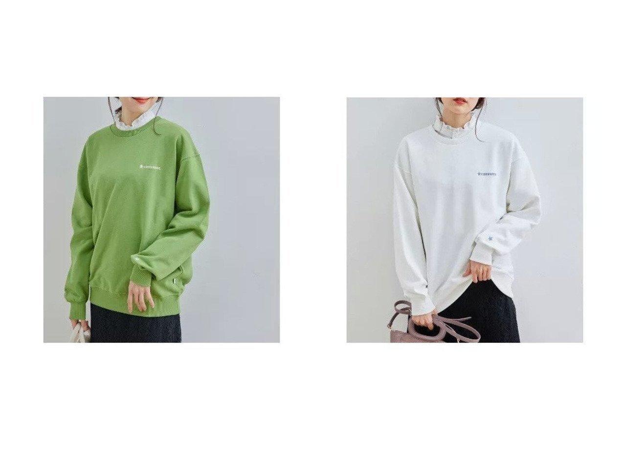 【ROPE' PICNIC/ロペピクニック】の【コンバース】裏毛トップス 別注・限定・コラボなど、おすすめ!人気、トレンド・レディースファッションの通販  おすすめで人気の流行・トレンド、ファッションの通販商品 インテリア・家具・メンズファッション・キッズファッション・レディースファッション・服の通販 founy(ファニー) https://founy.com/ ファッション Fashion レディースファッション WOMEN トップス・カットソー Tops/Tshirt パーカ Sweats スウェット Sweat おすすめ Recommend インナー ジーンズ スウェット タートル トレンド フリル フレア ベーシック 別注 春 Spring 秋 Autumn/Fall 長袖  ID:crp329100000071881
