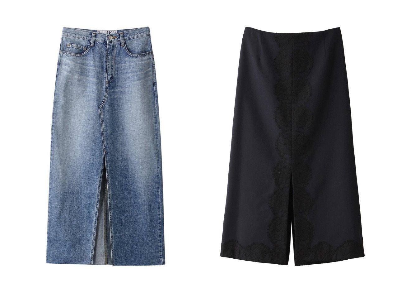 【THIRD MAGAZINE/サードマガジン】のデニムロングスカート&ウールギャバジンレーススカート 【スカート】おすすめ!人気、トレンド・レディースファッションの通販 おすすめで人気の流行・トレンド、ファッションの通販商品 インテリア・家具・メンズファッション・キッズファッション・レディースファッション・服の通販 founy(ファニー) https://founy.com/ ファッション Fashion レディースファッション WOMEN スカート Skirt ロングスカート Long Skirt インディゴ スリット フロント ブリーチ ロング |ID:crp329100000072097