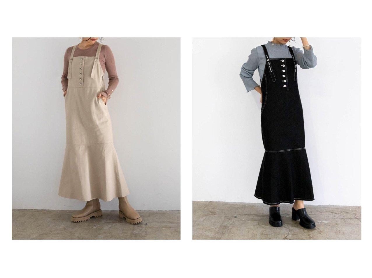 【RANDA/ランダ】のデニムサロペットワンピース おすすめ!人気、トレンド・レディースファッションの通販 おすすめで人気の流行・トレンド、ファッションの通販商品 インテリア・家具・メンズファッション・キッズファッション・レディースファッション・服の通販 founy(ファニー) https://founy.com/ ファッション Fashion レディースファッション WOMEN ワンピース Dress サロペット Salopette インナー エレガント カットソー シンプル スリーブ デニム トレンド ビッグ マーメイド  ID:crp329100000072414