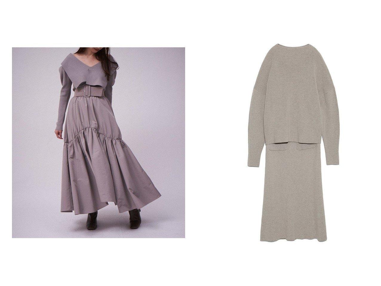 【Mila Owen/ミラオーウェン】の袖ボリュームニットスカートセットアップ&【SNIDEL/スナイデル】のベルトオンボリュームギャザースカート 【スカート】おすすめ!人気、トレンド・レディースファッションの通販 おすすめで人気の流行・トレンド、ファッションの通販商品 インテリア・家具・メンズファッション・キッズファッション・レディースファッション・服の通販 founy(ファニー) https://founy.com/ ファッション Fashion レディースファッション WOMEN セットアップ Setup スカート Skirt スカート Skirt ロングスカート Long Skirt ベルト Belts NEW・新作・新着・新入荷 New Arrivals カットソー シンプル ストレート セットアップ パターン 再入荷 Restock/Back in Stock/Re Arrival  ID:crp329100000074896